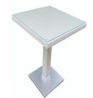 Tabelle CANDICE  hohe  aluminium  rattan beige Weiß  60x60 cms auf