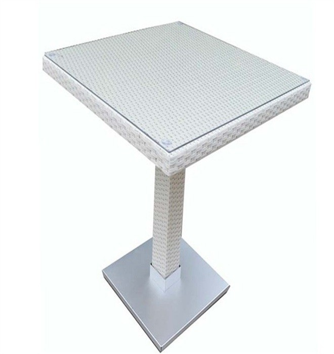 Table CANDICE, High, Aluminum, Rattan Beige White, 60x60 Cms