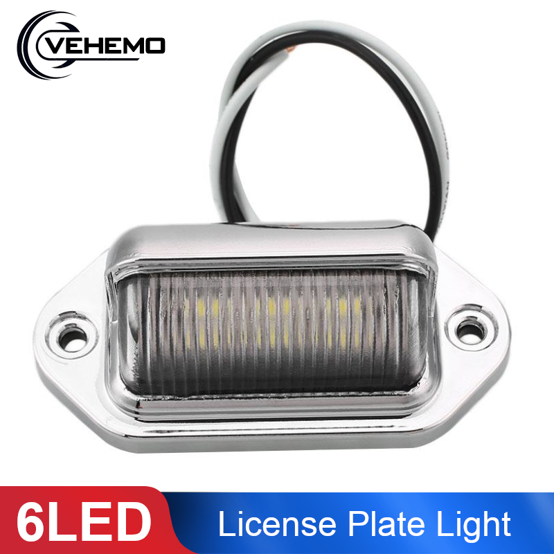 Vehemo License Plate Light 6 LED Rear Tail Licence Number Plate Light Lamp LED Universal For Trailer Truck Lorries