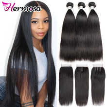 Human-Hair-Bundles Closure Hermosa Straight Peruvian Natural-Color with 3PCS Remy