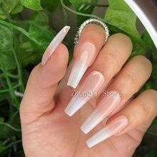 Largo degradado las uñas ataúd Artificial de impresionar falsas uñas Consejos nuevo AÑOS DE Ongles de la boda decoración de uñas