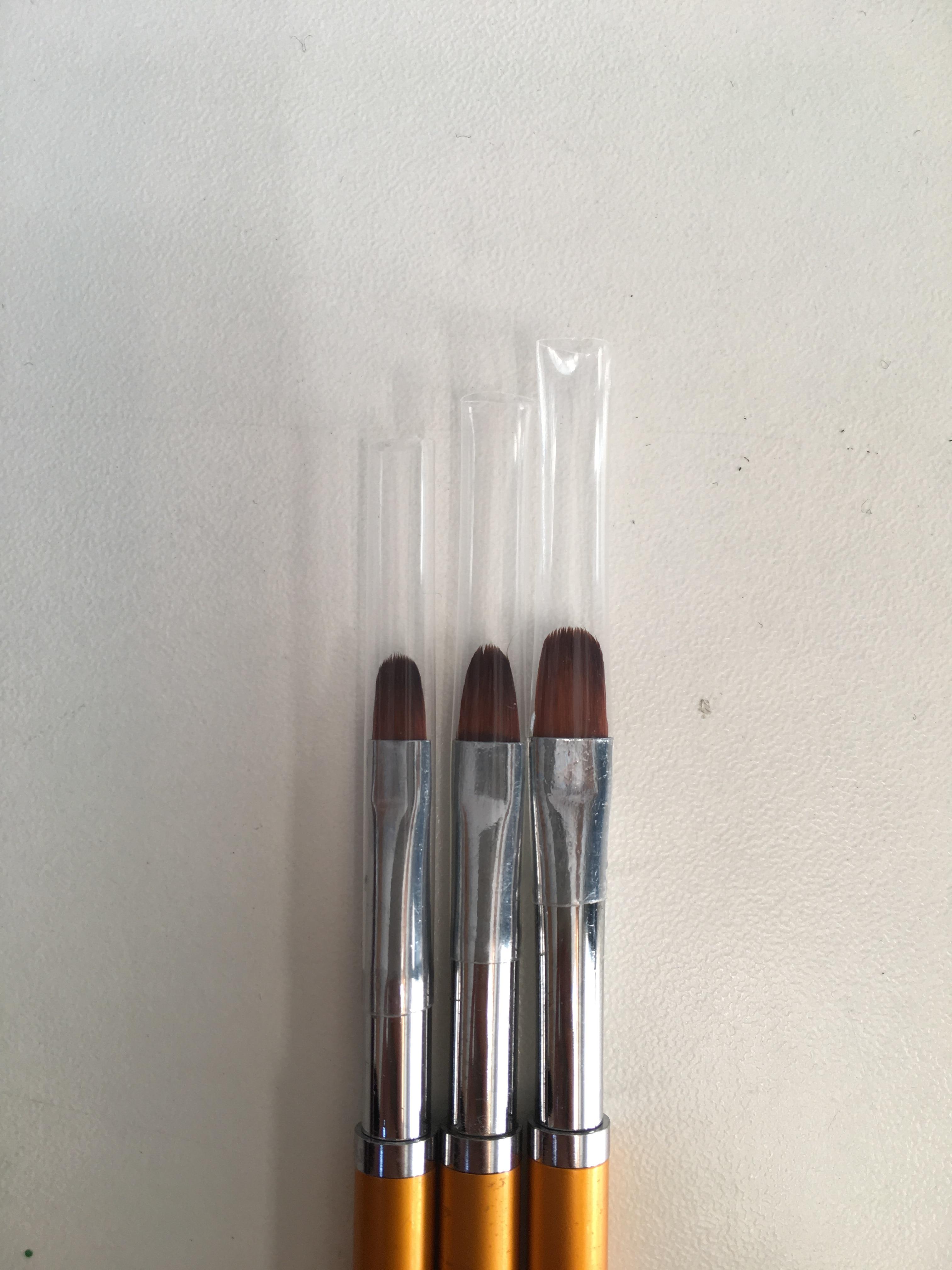 3 Size Nail Art Gold Round Top Painting Brush Set Gel Polish Tips Extending Coating 3D Petal Flower DIY Drawing Shaping Pens Kit reviews №3 161373