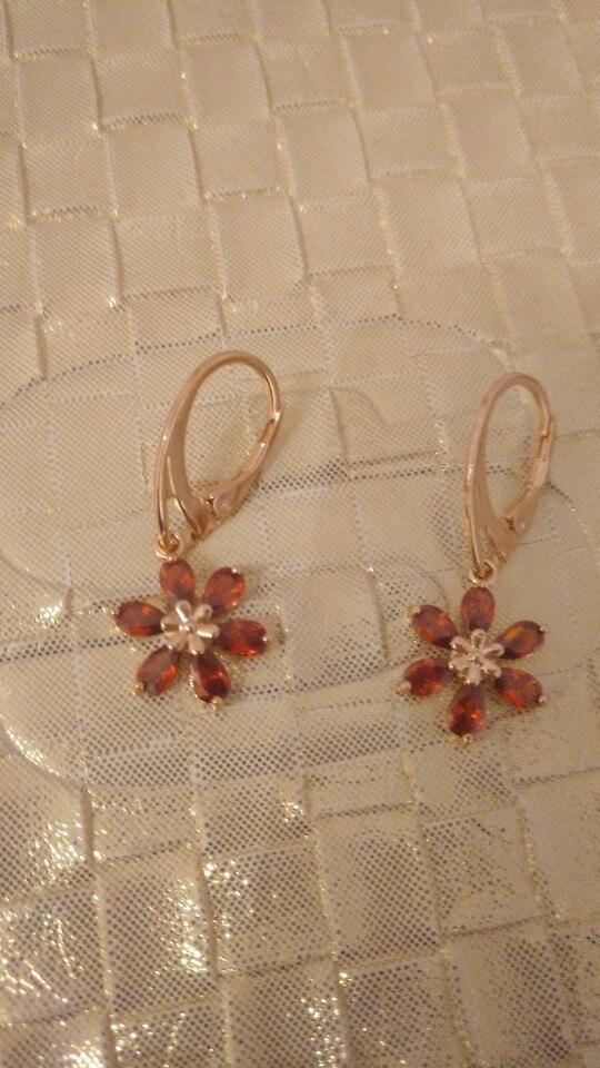 Fashion New Women Gold-color Flower CZ Crystal Pierced Dangle Drop Earrings Wedding Jewelry Earring Gift