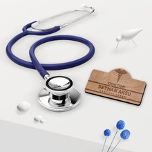 Personalized Stethoscope and Wood Collar İsimliği Set-2 Reliable Modern Simple Gift Special Design Good Quality Surprise Dear Moment