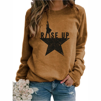 Stars Print Sweatshirts Women Long Sleeve Top Autumn New O-neck Sweatshirt Casual Female Loose Hoodies Datura letter Pullover letter print crew neck pullover christmas sweatshirt