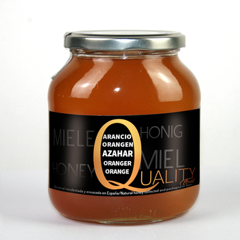 Pure Honey honeybee 100%. Raw honey orange flower. 1Kg. Origin Spain. No pasteurizar ni warm. High quality. CRYSTAL jar.