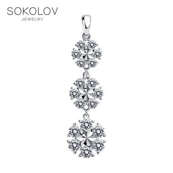 SOKOLOV suspension of silver with fianitami fashion jewelry 925 women's/men's, male/female, women's male, pendants for neck women