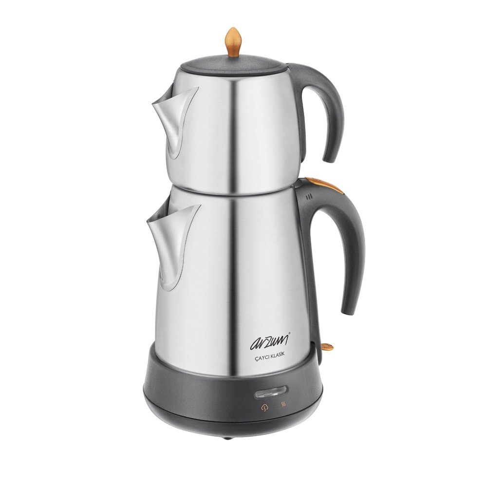 Arzum AR3004 1650 W Steel Tea Machine Turkish Electric Teapot, Tea Kettle Machine Maker, Samovar Turkish Tea Maker,Tea Urn