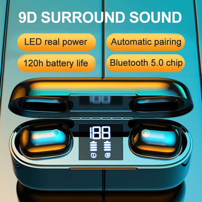 100sets <font><b>M2</b></font> <font><b>Tws</b></font> Wireless Bluetooth Headset 5.0 LED Digital Display Touch With Charging Compartment 2500 MAh Bluetooth Earphone image