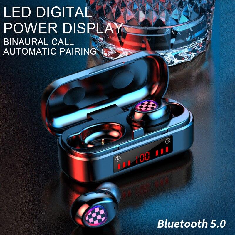 Fone de ouvido bluetooth 5.0 fones sem fio tws fone de ouvido esportes fones de ouvido led botões fones de ouvido para android