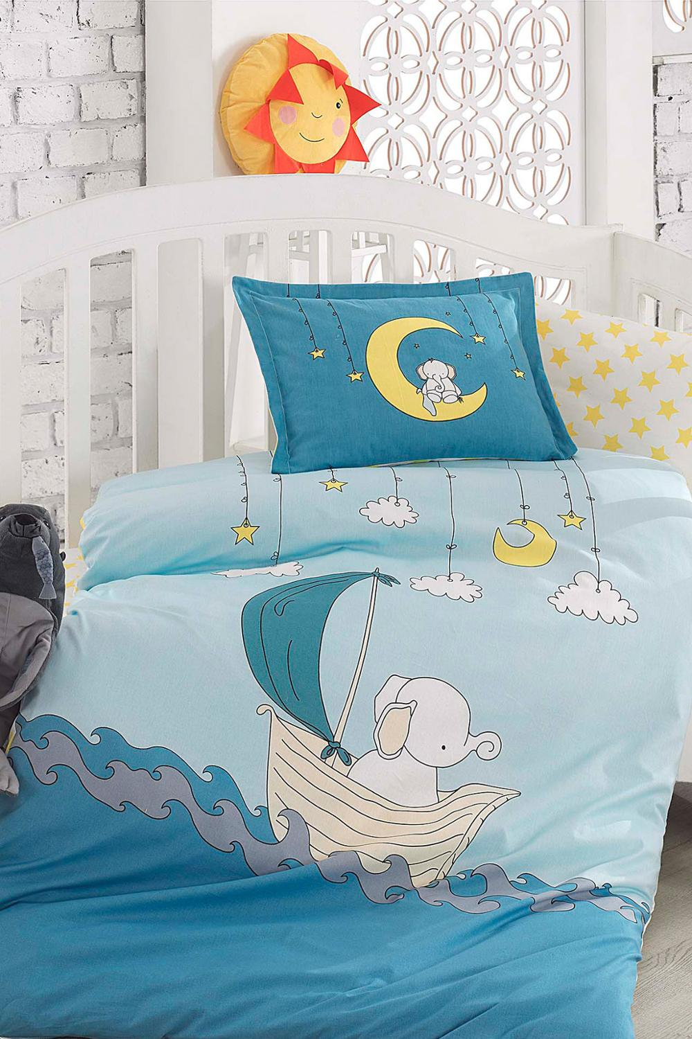 Lady Moda Elephant 4 Pcs Baby Bedding Set 100x150 Cm Crib Bedding Set 100% Cotton Cartoon Baby Bed Linen Set From Turkey