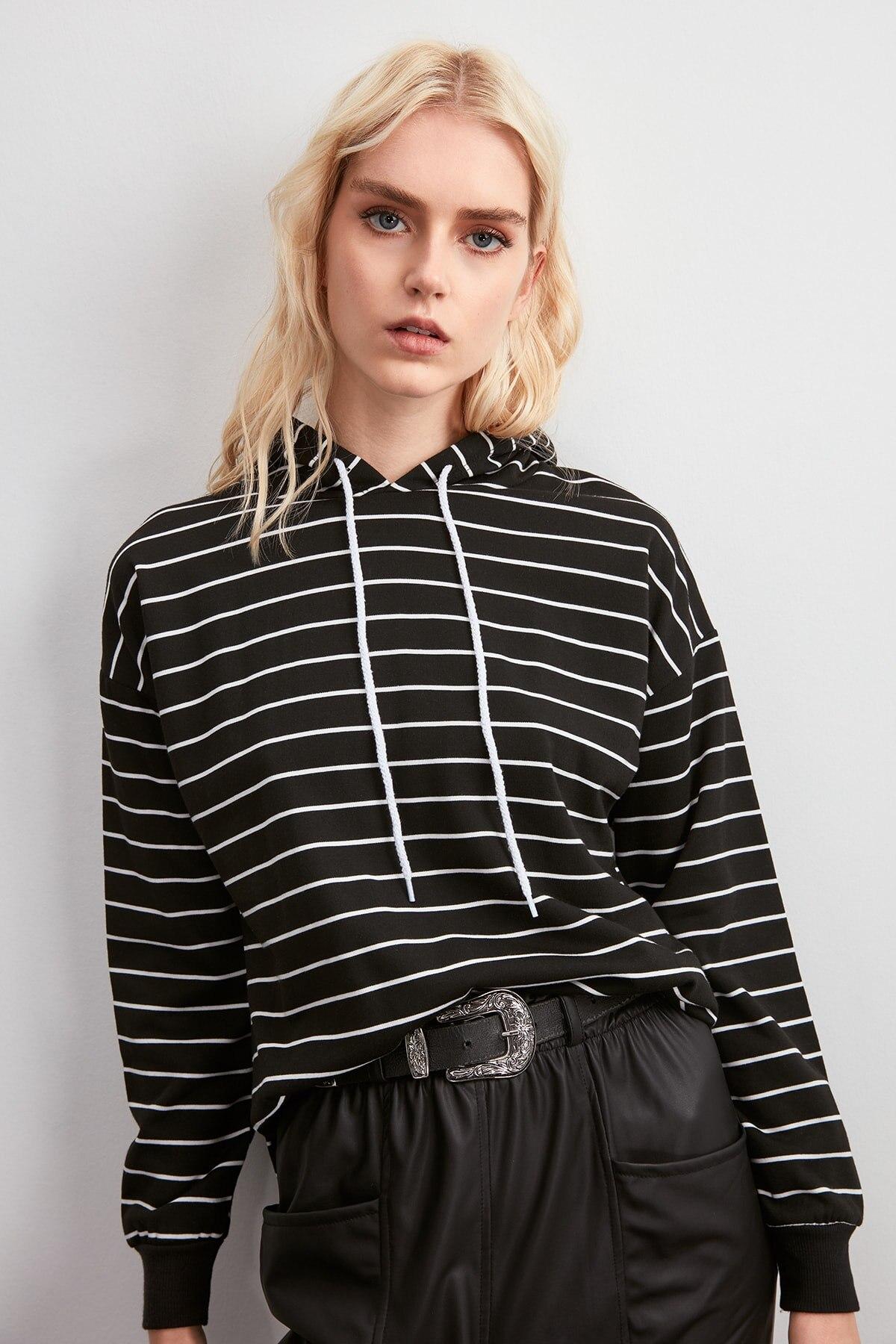 Trendyol Striped Knitted Sweatshirt TWOAW20SW0769