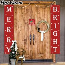 OurWarm 4pcs/set Christmas Porch Sign Decorative Door Banner Merry Bright for Home Garden 2019