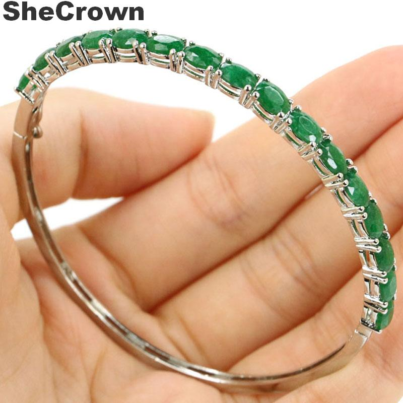 6x4mm Deluxe Real Green Emerald Gift For Woman's Silver Bangle Bracelet Length 7.5inch
