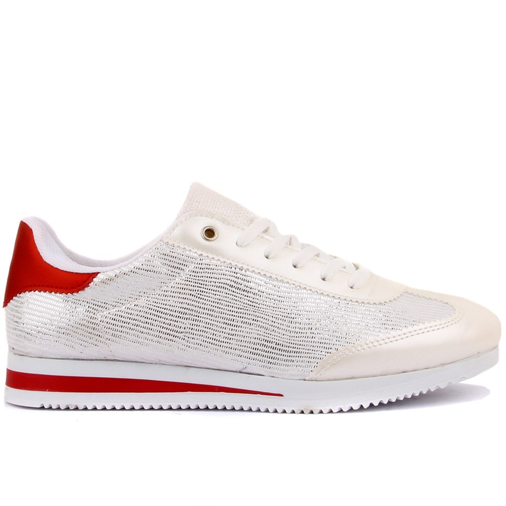 Moxee-White, Red Laced Women Sneaker