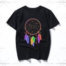 Хлопковая футболка с изображением Ловца снов радужных перьев