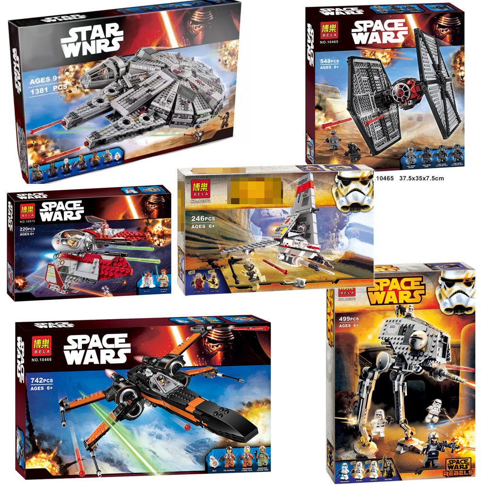 For Legoelys Star Wars Millennium AT-ST Walker First Order BB-8 Special Falcon Forces TIE X-wing Fighter Building Blocks Toys