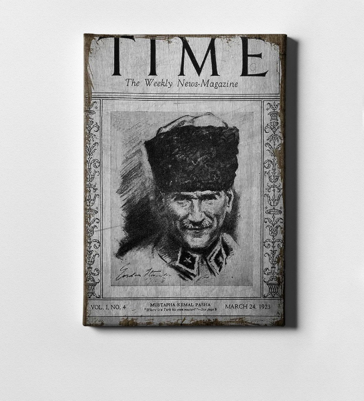 Personalized Ataturk Time Magazine Cover Canvas Print (50x70 Cm.)