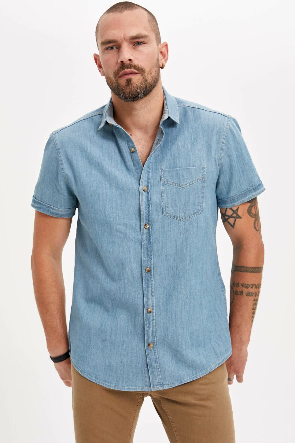 DeFacto Shirt Summer Men's Fashion Short Sleeve Blouser Male Casual Denim Comfort Shirts Men High Quality Tops New - L7440AZ19SM