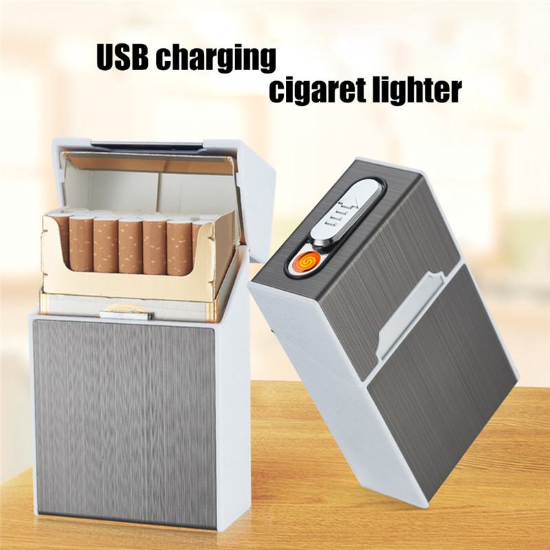 2-in-1 Cigarette Case USB Charging Box Charging Cigarette Windproof Lighter For Smoking Metal Cigarette Case Rechargeable Boxes