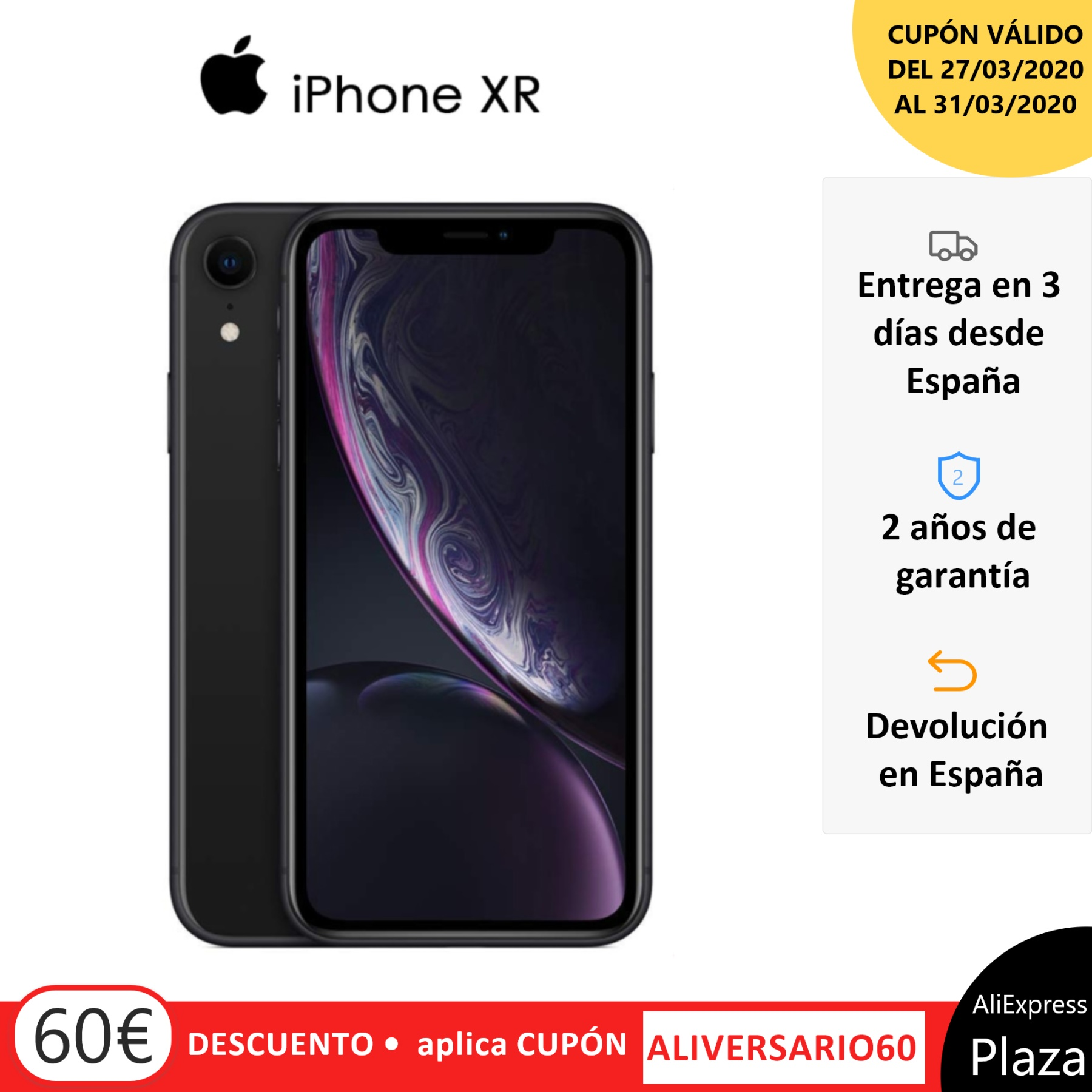 Smartphone Apple IPhone XR, 64 GB, 3 GB RAM, Band 4G/LTE/Wi-Fi, 15,5 Cm (Pantalla 6.1