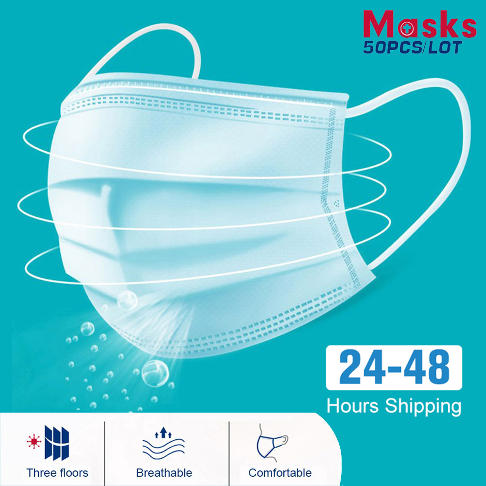 100/50pcs Quality Fast Mask Protective 3 Layer Non Woven Face Mask Safety Mouth Masks Dust Proof In Stock Dust Mask Disposable