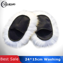Vehemo супер длинные волосы лапы овчины автомобиля Роскошные шерсть мытье полировка перчатки