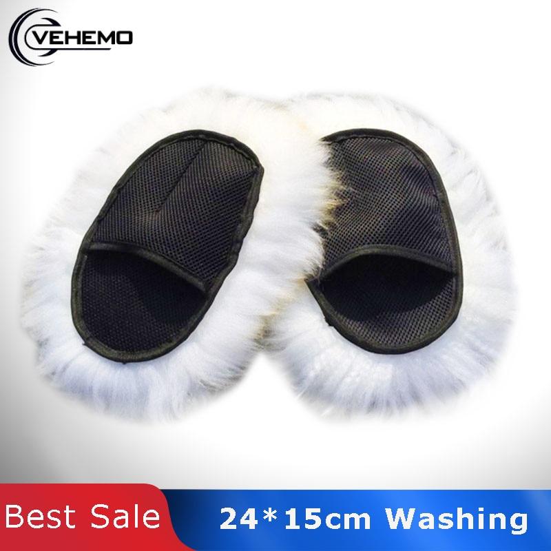 Vehemo Super Long Hair Paws Sheepskin Car Luxury Wool Washing Polishing Gloves
