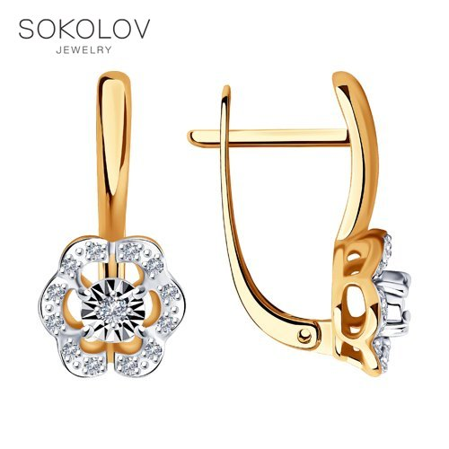Drop Earrings With Stones With Stones With Stones With Stones With Stones SOKOLOV From Combined Gold And Diamonds Fashion Jewelry 585 Women's/men's, Male/female Women's Male