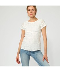 White blouse embroidered strip
