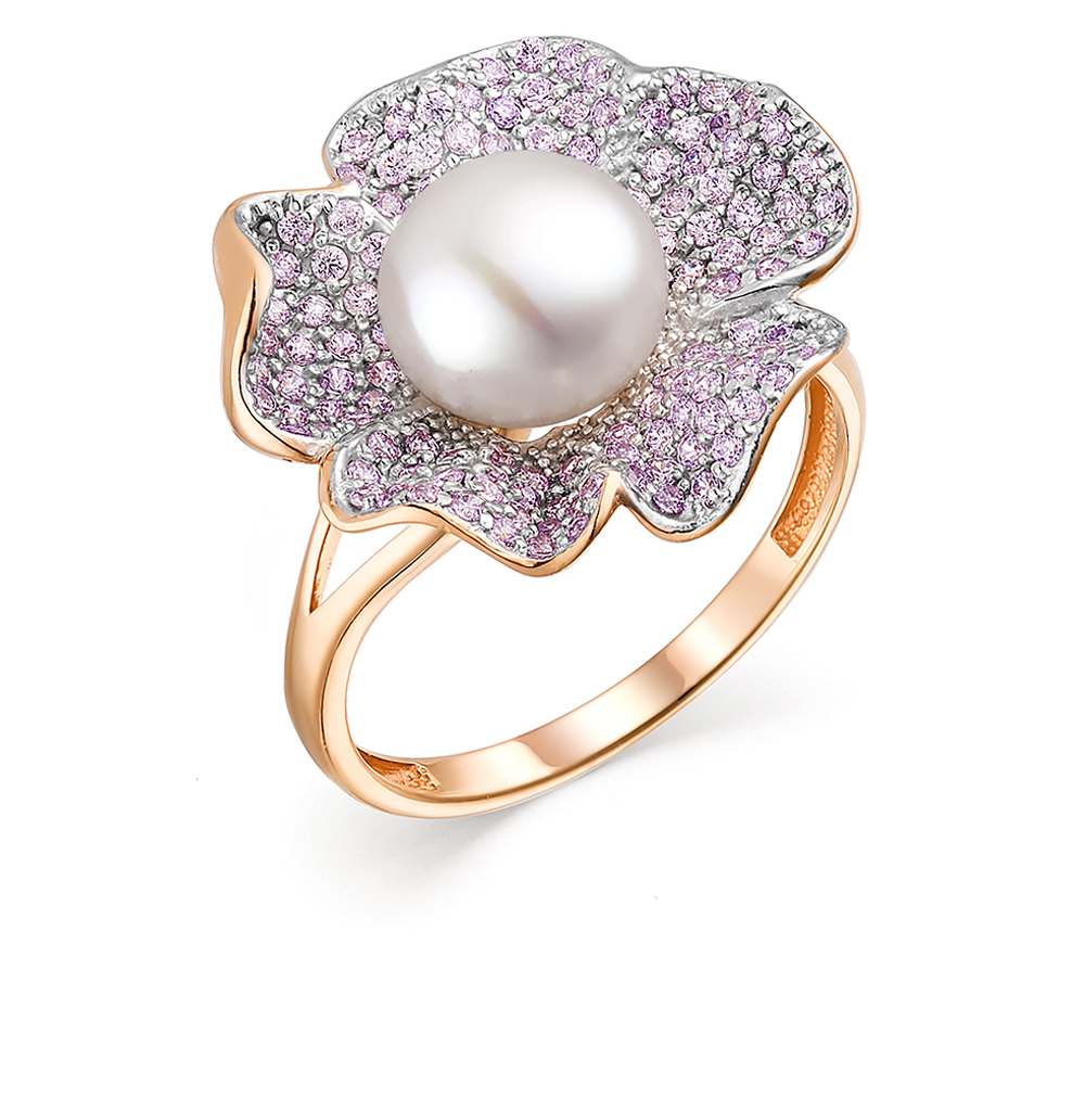 Gold Ring With Cubic Zirconia And Pearls Sunlight Sample 585