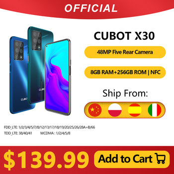 Cubot X30 Smartphone 48MP Five Camera 32MP Selfie 8GB+256GB NFC 6.4'' FHD+ Fullview Display Android 10 Global Version Helio P60