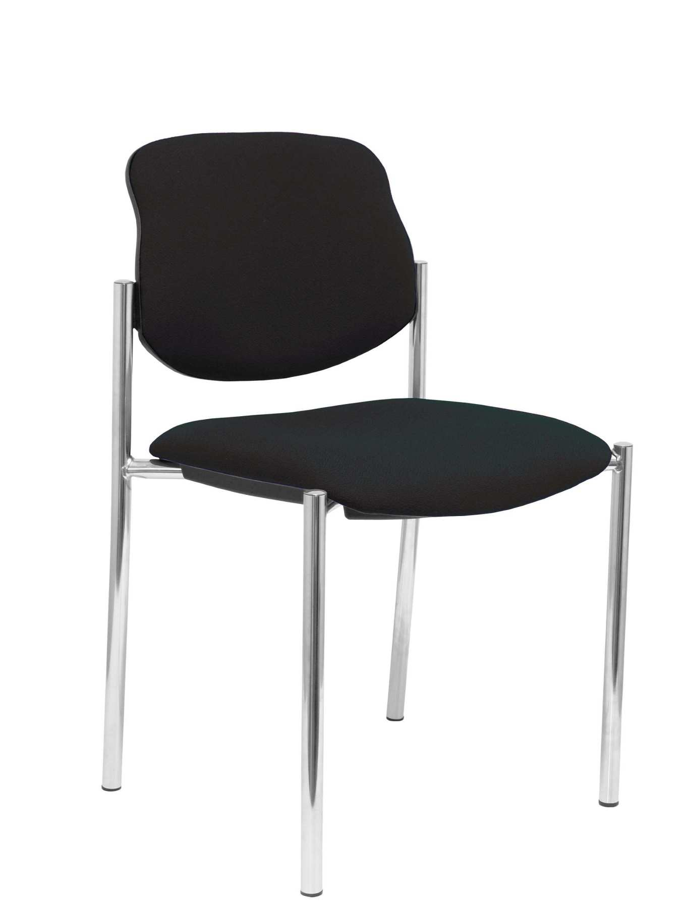 Confident Chair 4-leg And Estructrua Chrome Seat And Back Upholstered In Fabric BALI Color Black PIQUERAS And CR