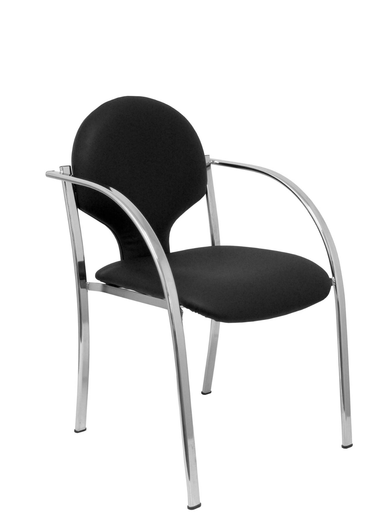 Pack 2 Chairs Confident Ergonomic With Fixed Arms Built-in Stackable And Structure Chrome Seat And Backrest