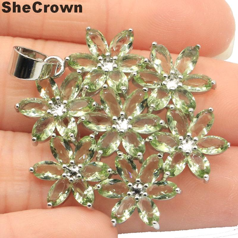 38x35mm Beautiful Flowers Shape Created Green Amethyst Woman's Wedding Silver Pendant