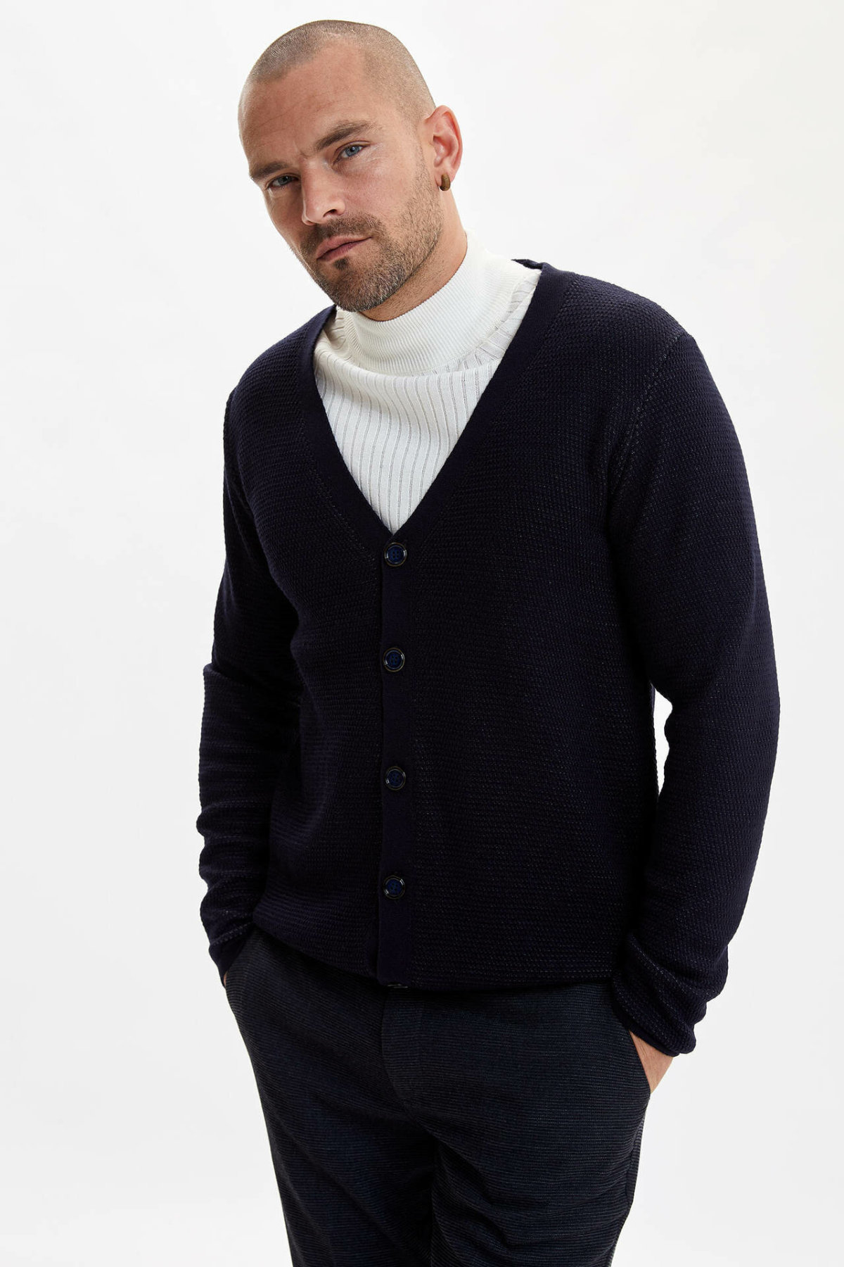 DeFacto Fashion Man V-neck Lapel Thick Cardigan Ladies Casual Solid Single-breasted Coats Male Warm Slim Sweater - L3669AZ19AU