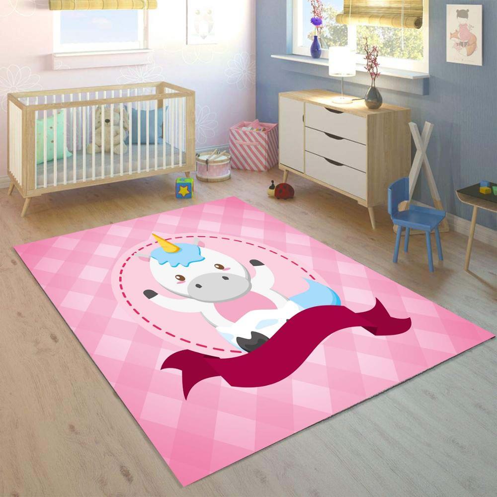 Else Pink Sweet Unicorn Horses 3d Print Non Slip Microfiber Children Kids Room Decorative Area Rug Kids  Mat