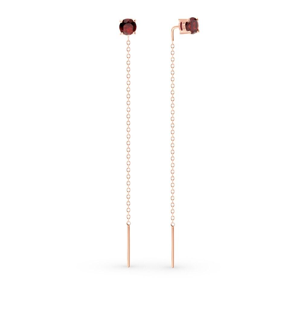 Gold Earrings With Garnet Sunlight Sample 585