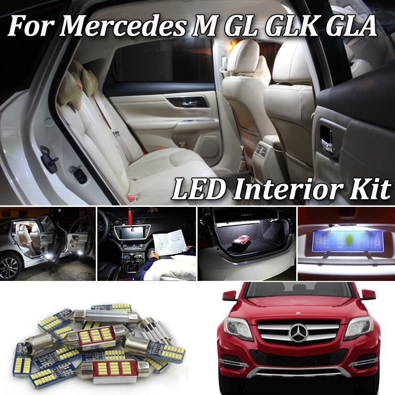 Perfect White LED bulb Interior Reading Map Dome Light Kit For Mercedes Benz M ML GL GLK GLA <font><b>W163</b></font> W164 W166 X164 X166 X156 X204 image