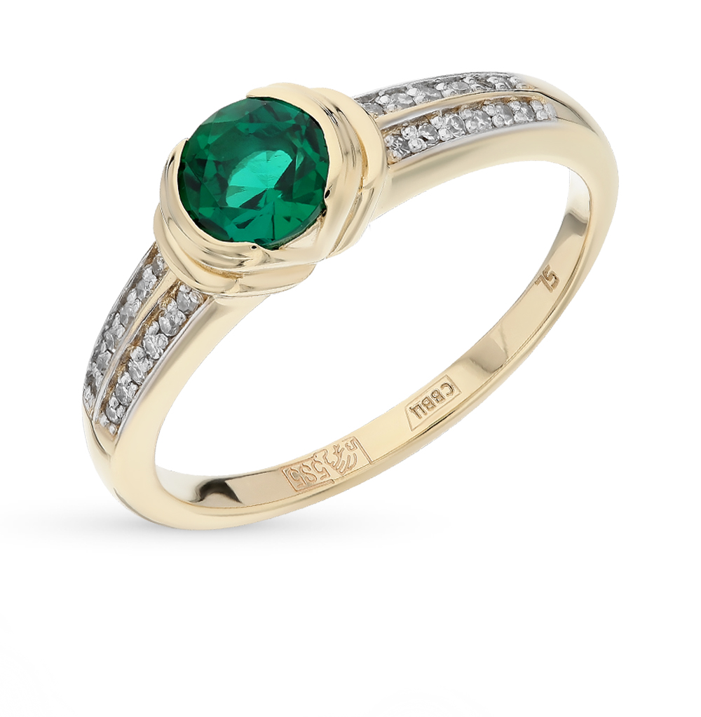 Gold Ring With Emerald And Diamond SUNLIGHT Test 585