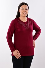 Women's Large Size Fronting Stone Burgundy Blouse 417