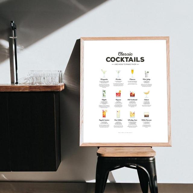 Cocktail mur Art imprime Cocktails classiques recette graphique affiche cuisine mur Art toile peinture photos Cocktail cadeau barre décor