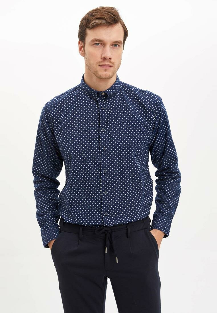 DeFacto Autumn Dark Blue Mens Shirt White Dot Smart Casual Male Long Sleeve Shirt Turn-down Collar-I9839AZ18AU