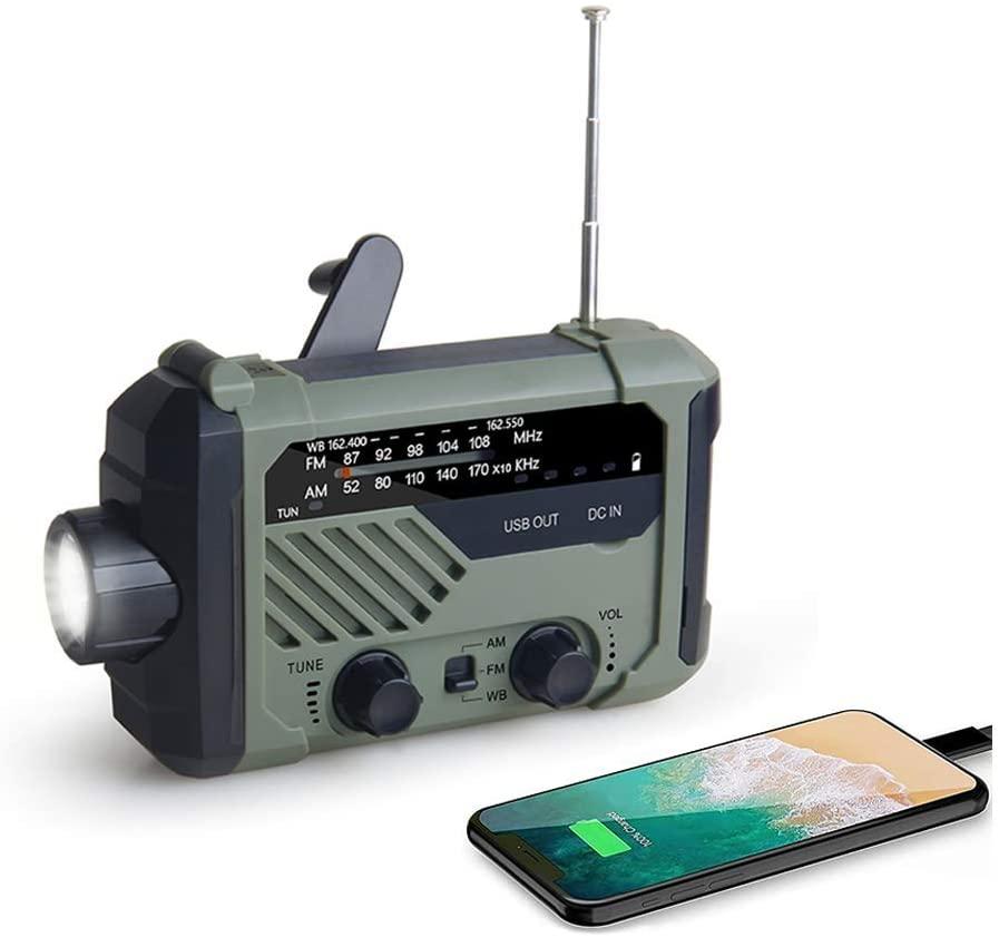 Портативное аварийное радио 2000mAh-Solar с ручным управлением, AM/FM/NOAA, метеостанция с фонариком и лампой для чтения, зарядное устройство для сото...