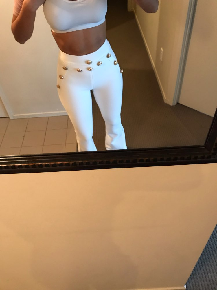 Summer Flare Pants Women Sexy Skinny Pant High Waist White Red Black Trousers Party Bodycon Bandage Pants Long photo review