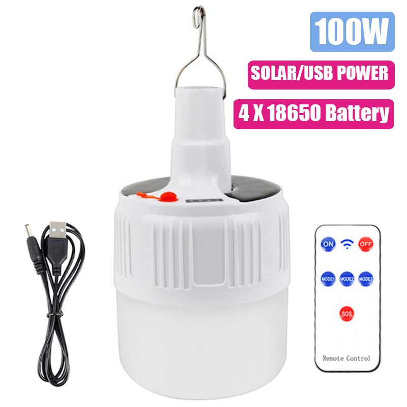 100W Solar Camping Light With USB LáMpara Camping Lamp 18650 Solar/USB Rechargeable Portable Lantern For Outdoor Sports Travel