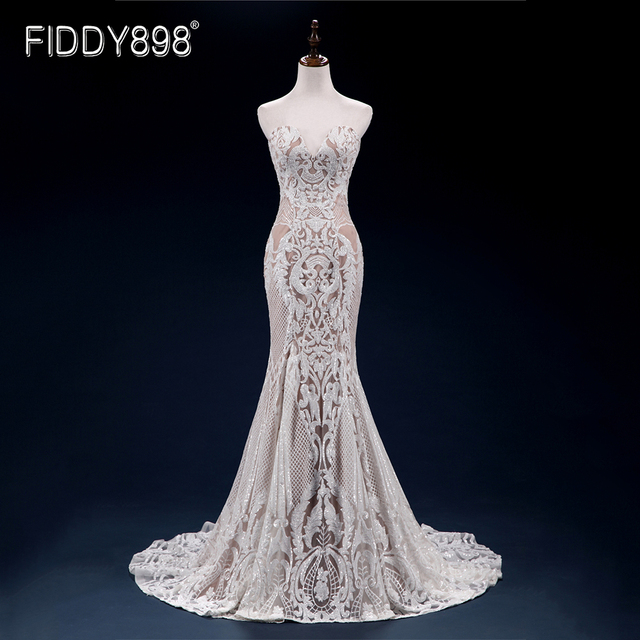 Sweeheart Mermaid Wedding Dresses Special Sequin Lace Bridal Gowns Sexy Trumpet Wedding Gown Vestido de Novia 1