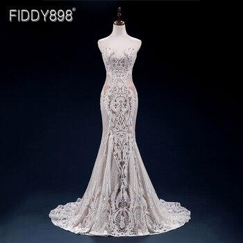 Vintage Lace Mermaid Wedding Dress Turkey Vestido de Novia Sequin Lace Sheer Bridal Gowns Robe mariee