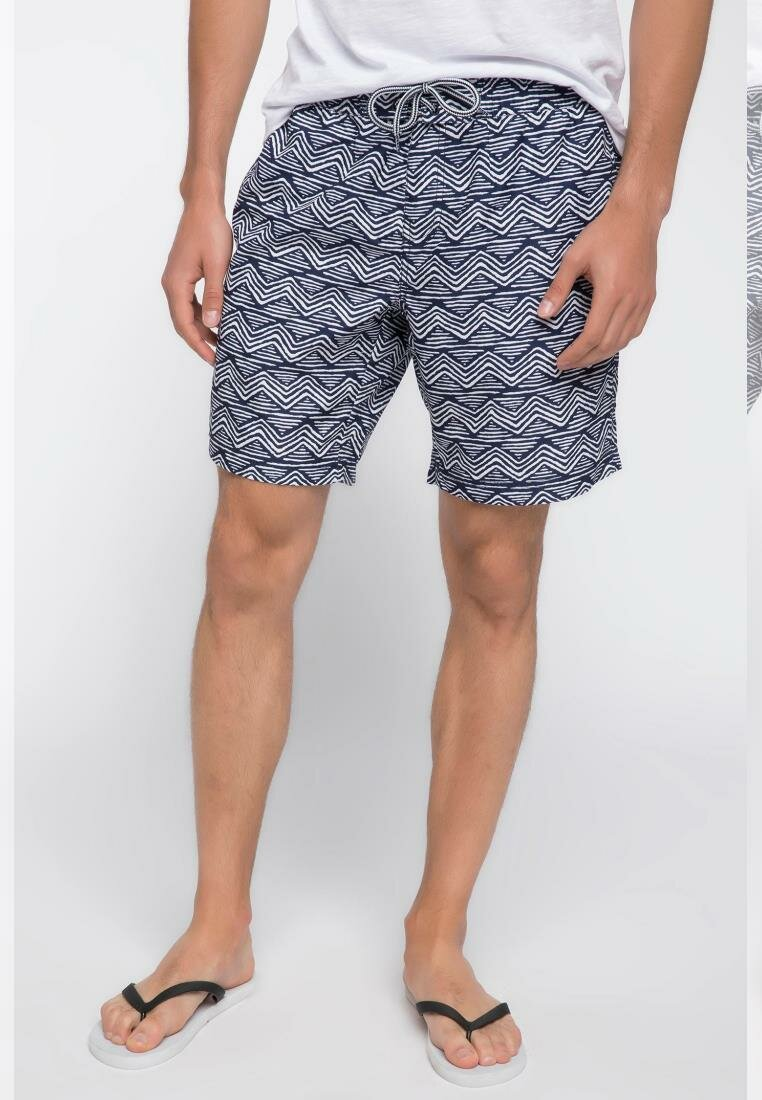 DeFacto Summer Man Fashion Swimming Short Male Casual Wave Striped Pattern Short Pants Comfort New -I3216AZ18SM