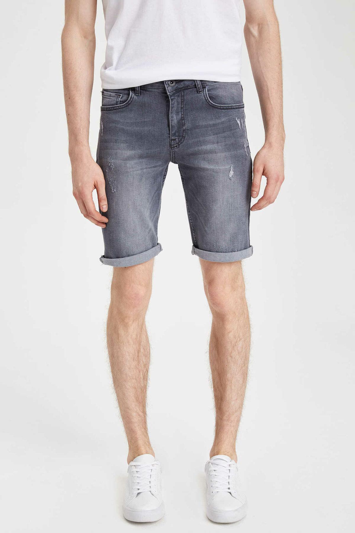 DeFacto Man Summer Casual Denim Shorts Men Ripped Denim Bermuda SHorts Men Grey Denim Shorts Jeans-L3825AZ19SM